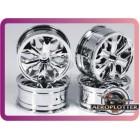 1/10 RC Car Hip-hop Style Metallic Plate Silver Wheel Set D