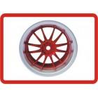 RODA 1/10 RC Car Metallic Plate 12 Talons HPI Wheel Set  (SILVER/RED)