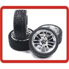 RODA 1/10 RC Car Metallic Plate 12 Talons HPI Wheel Set + pneus 1/10 RC On-Road Car Performance Rubber Racing Tyres / Tires (4pcs)